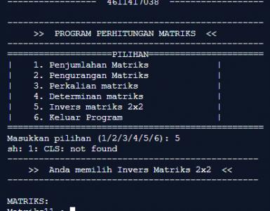 Perhitungan Matriks Menggunakan CPP / C++