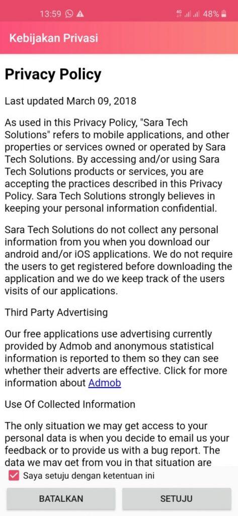 Setujui Kebijakan Privasi Aplikasi