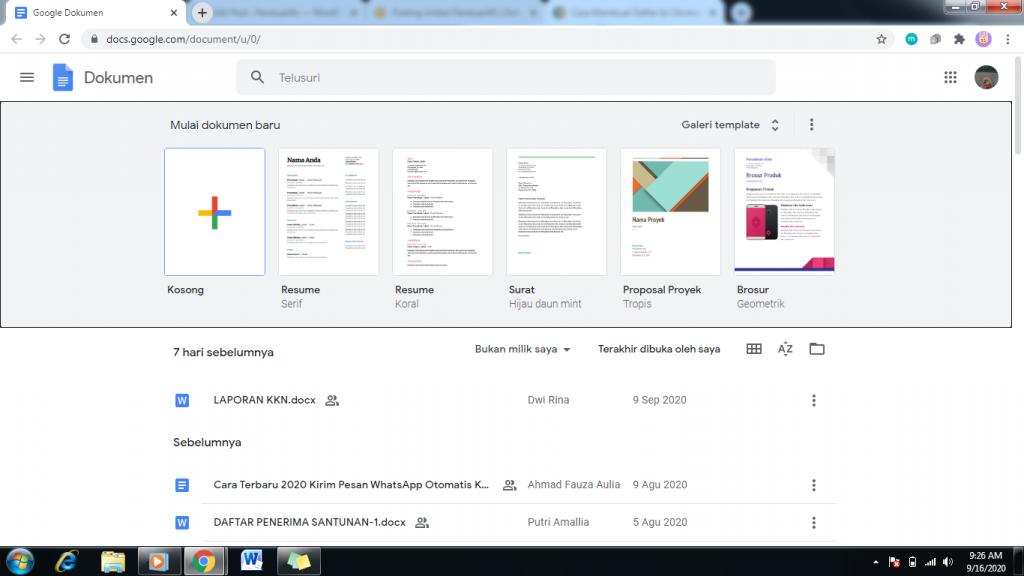 Halaman Awal Google Docs