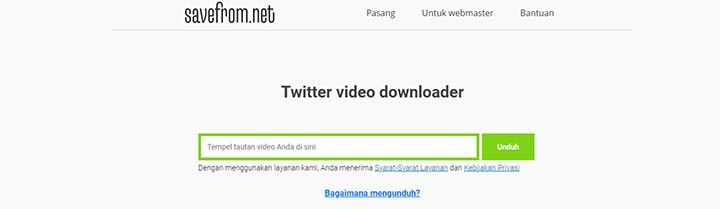 Download Video Twitter via Savefrom