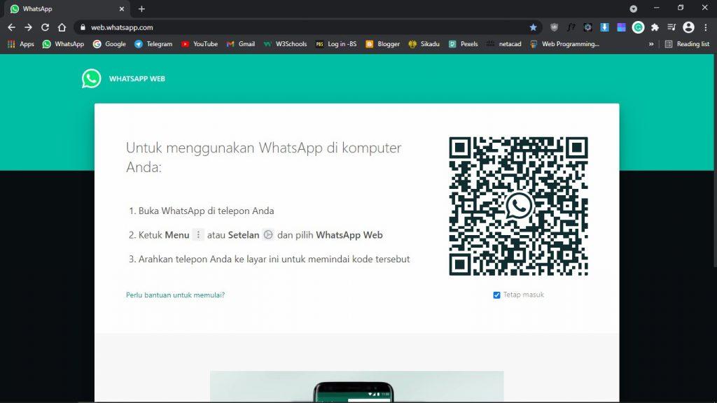 Tampilan halaman Whatsapp Web