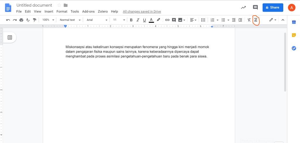 Klik icon Zotero di menu bar Google Docs untuk Menambahkan Bibliografi google Dokumen