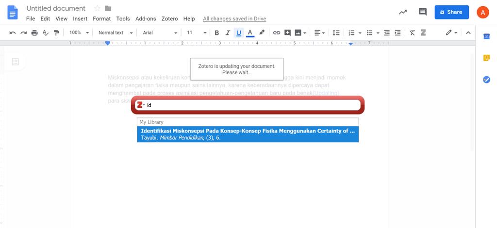 Tampilan search bar untuk Menambahkan Bibliografi google Dokumen