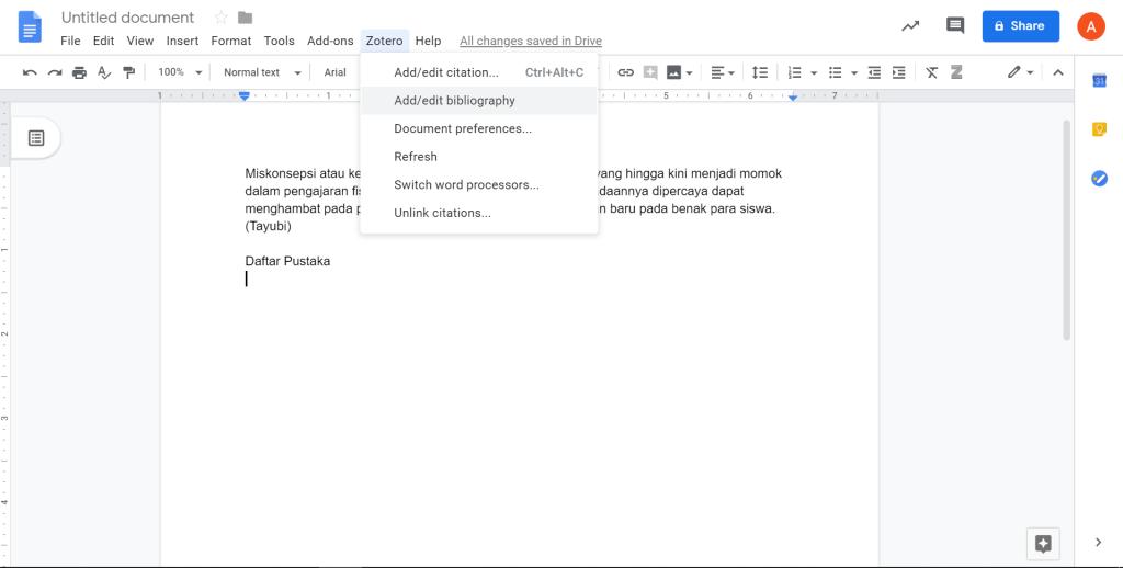 klik bibliography untuk menambahkan daftar pustaka